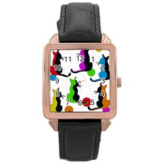 Colorful abstract cats Rose Gold Leather Watch