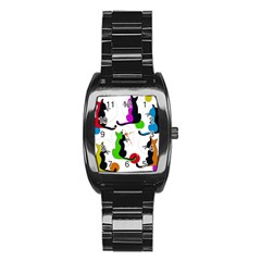 Colorful abstract cats Stainless Steel Barrel Watch