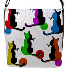 Colorful abstract cats Flap Messenger Bag (S)