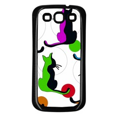 Colorful abstract cats Samsung Galaxy S3 Back Case (Black)