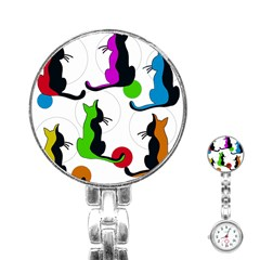Colorful abstract cats Stainless Steel Nurses Watch