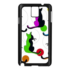 Colorful abstract cats Samsung Galaxy Note 3 N9005 Case (Black)