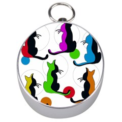 Colorful abstract cats Silver Compasses