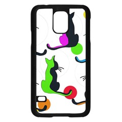 Colorful abstract cats Samsung Galaxy S5 Case (Black)