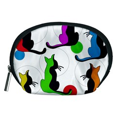Colorful abstract cats Accessory Pouches (Medium)