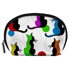 Colorful abstract cats Accessory Pouches (Large)