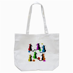 Colorful abstract cats Tote Bag (White)