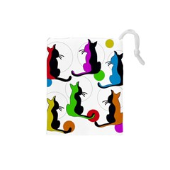 Colorful abstract cats Drawstring Pouches (Small)