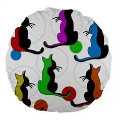 Colorful abstract cats Large 18  Premium Flano Round Cushions