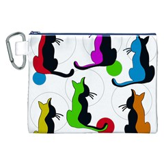 Colorful abstract cats Canvas Cosmetic Bag (XXL)