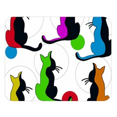 Colorful abstract cats Double Sided Flano Blanket (Large)