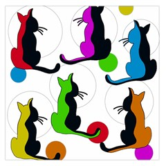 Colorful abstract cats Large Satin Scarf (Square)