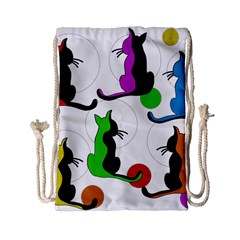 Colorful abstract cats Drawstring Bag (Small)