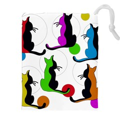 Colorful abstract cats Drawstring Pouches (XXL)