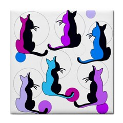 Purple abstract cats Tile Coasters