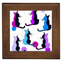Purple abstract cats Framed Tiles