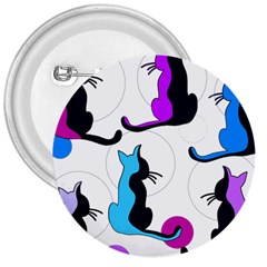 Purple abstract cats 3  Buttons