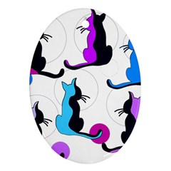 Purple abstract cats Ornament (Oval)