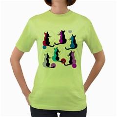 Purple abstract cats Women s Green T-Shirt