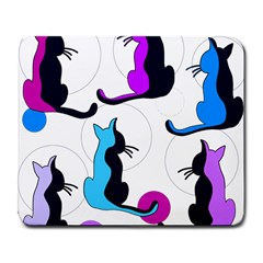 Purple abstract cats Large Mousepads