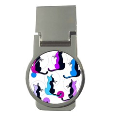 Purple abstract cats Money Clips (Round)