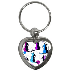 Purple abstract cats Key Chains (Heart)