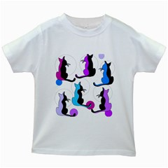 Purple abstract cats Kids White T-Shirts