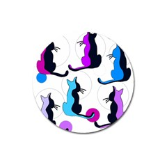 Purple abstract cats Magnet 3  (Round)