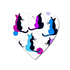 Purple abstract cats Heart Magnet