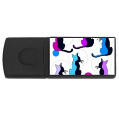 Purple abstract cats USB Flash Drive Rectangular (1 GB)