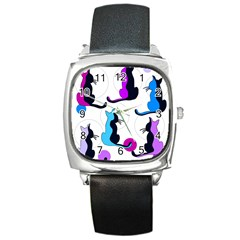 Purple abstract cats Square Metal Watch