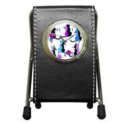 Purple abstract cats Pen Holder Desk Clocks
