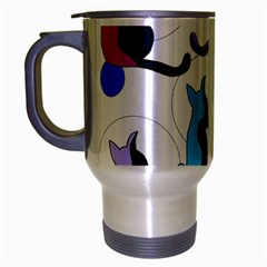 Purple abstract cats Travel Mug (Silver Gray)