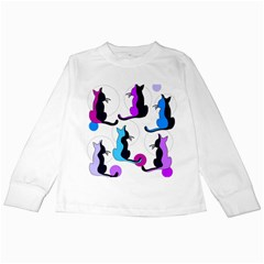 Purple abstract cats Kids Long Sleeve T-Shirts