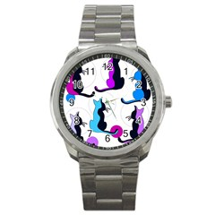 Purple abstract cats Sport Metal Watch
