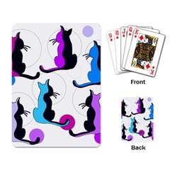 Purple abstract cats Playing Card