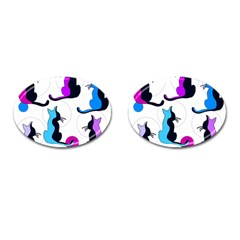 Purple abstract cats Cufflinks (Oval)