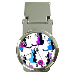 Purple abstract cats Money Clip Watches