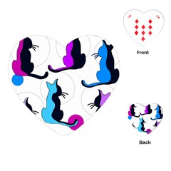 Purple abstract cats Playing Cards (Heart)