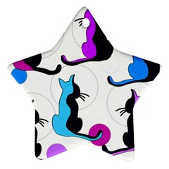 Purple abstract cats Star Ornament (Two Sides)