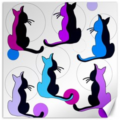 Purple abstract cats Canvas 20  x 20
