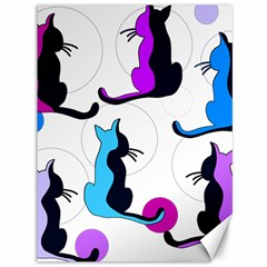 Purple abstract cats Canvas 36  x 48