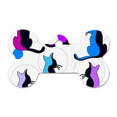Purple abstract cats Dog Tag Bone (Two Sides)