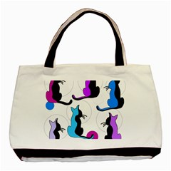 Purple abstract cats Basic Tote Bag (Two Sides)