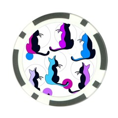 Purple abstract cats Poker Chip Card Guards