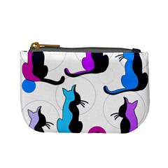 Purple abstract cats Mini Coin Purses