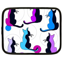 Purple abstract cats Netbook Case (XL)