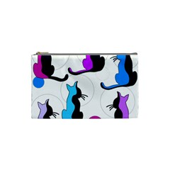 Purple abstract cats Cosmetic Bag (Small)