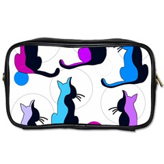 Purple abstract cats Toiletries Bags