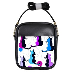 Purple abstract cats Girls Sling Bags